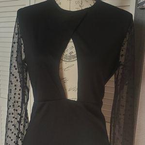 Mesh sleeves key hole breast dress